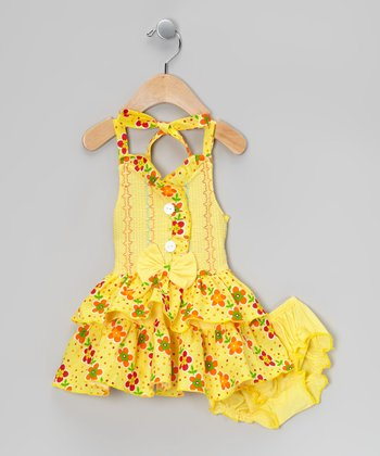 Yellow Floral Halter Dress & Diaper Cover - Infant