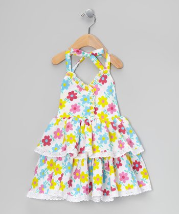 Fuchsia Floral Tiered Halter Dress - Toddler & Girls