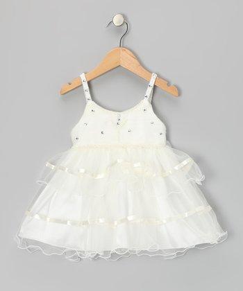 Lele for Kids Ivory Rhinestone Ruffle Dress - Infant