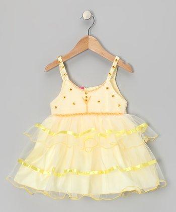 Lele for Kids Yellow Rhinestone Ruffle Dress - Infant