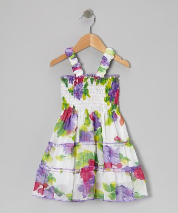 White & Purple Flower Shirred Ruffle Dress - Toddler & Girls