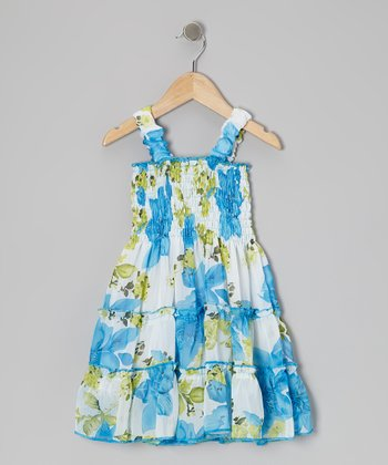 Blue Floral Convertible Dress - Toddler & Girls