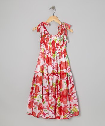 Red Floral Convertible Maxi Dress - Girls