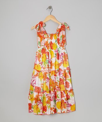 Orange Floral Convertible Maxi Dress - Girls