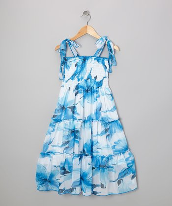 Blue Floral Convertible Maxi Dress - Girls