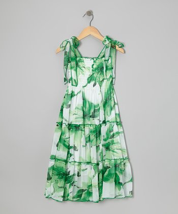 Green Floral Shirred Ruffle Maxi Dress - Girls