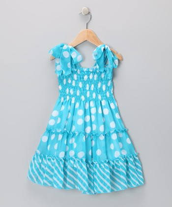 Blue Polka Dot Chiffon Dress - Toddler & Girls