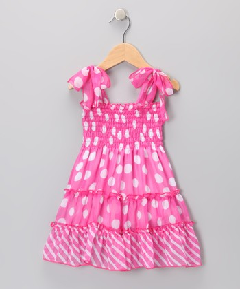 Pink Polka Dot Chiffon Dress - Toddler & Girls