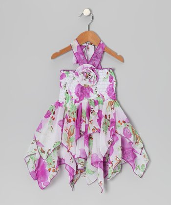 Purple Floral Chiffon Handkerchief Dress - Toddler & Girls