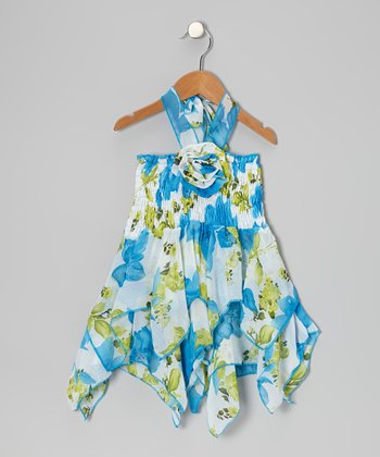 Blue Floral Chiffon Handkerchief Dress - Toddler & Girls