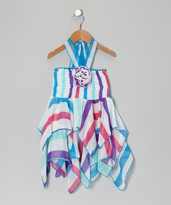 Blue Flower Chiffon Handkerchief Halter Dress - Toddler & Girls