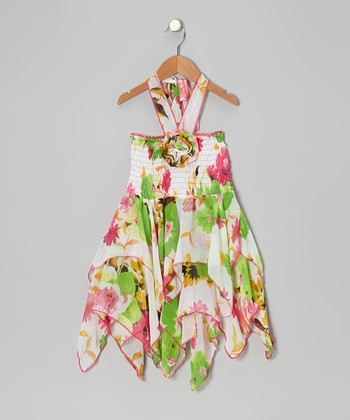 Green Floral Chiffon Handkerchief Dress - Toddler & Girls