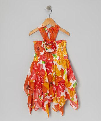 Orange Flower Chiffon Handkerchief Dress - Toddler & Girls