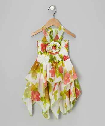 White & Green Floral Chiffon Handkerchief Dress - Toddler & Girls