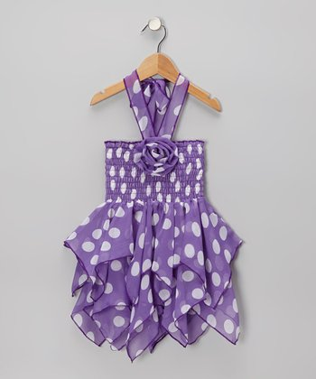 Purple & White Polka Dot Handkerchief Dress - Toddler & Girls