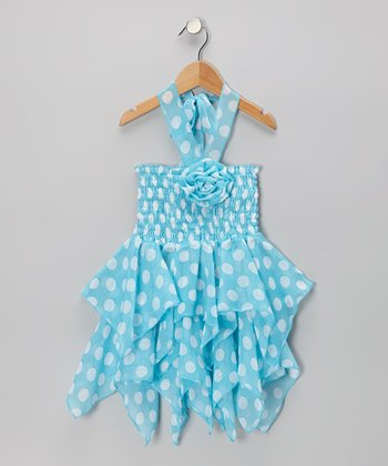 Aqua & White Polka Dot Handkerchief Dress - Toddler & Girls