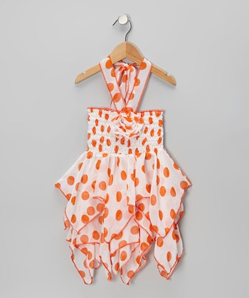Orange Polka Dot Chiffon Handkerchief Dress - Toddler & Girls