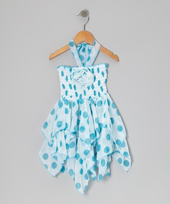 Aqua Polka Dot Chiffon Handkerchief Dress - Toddler & Girls