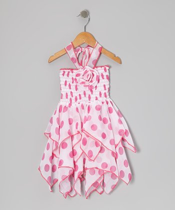 Pink Polka Dot Chiffon Handkerchief Dress - Toddler & Girls