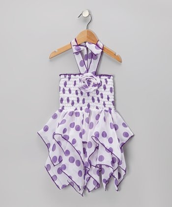 Purple Polka Dot Chiffon Handkerchief Dress - Toddler & Girls