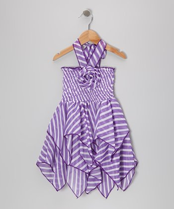 Purple Stripe Chiffon Handkerchief Halter Dress - Toddler & Girls