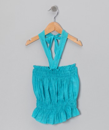 Aqua Halter Top - Girls