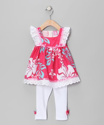 Pink Hawaiian Tunic & White Leggings - Toddler & Girls