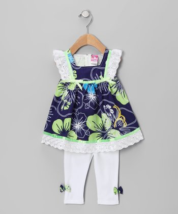 Navy Hawaiian Tunic & White Leggings - Infant, Toddler & Girls
