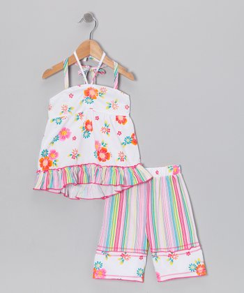White Hawaiian Halter Top & Pants - Toddler & Girls
