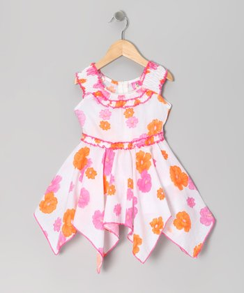 Pink Daisy Yoke Handkerchief Dress - Toddler & Girls