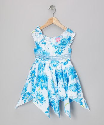 Blue Floral Handkerchief Dress - Toddler & Girls