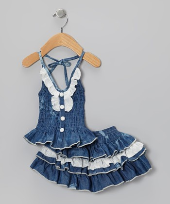 Medium-Wash Denim Lace Halter Top & Skirt - Infant