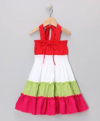 Red Tiered Halter Dress - Girls
