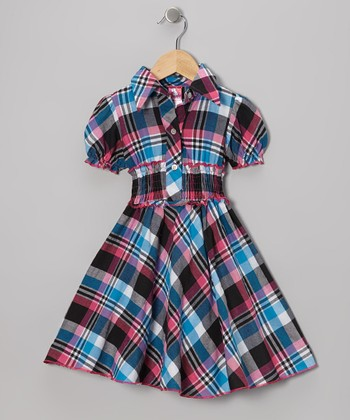 Pink & Blue Plaid Shirt Dress - Toddler & Girls