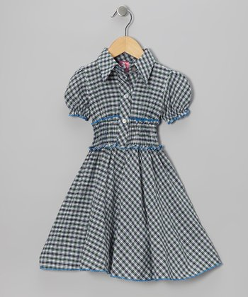 Green & Blue Plaid Shirt Dress - Toddler & Girls