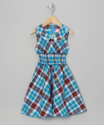 Blue Plaid Sleeveless Dress - Toddler & Girls