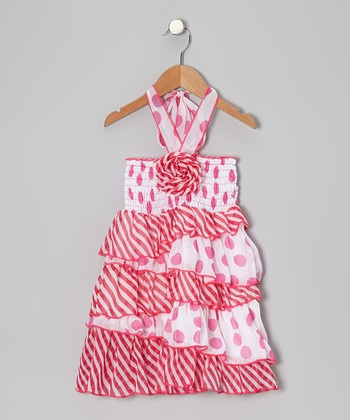 Pink Stripe & Polka Dot Rosette Ruffle Dress - Toddler & Girls