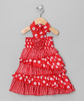 Red Polka Dot Rosette Halter Dress - Infant