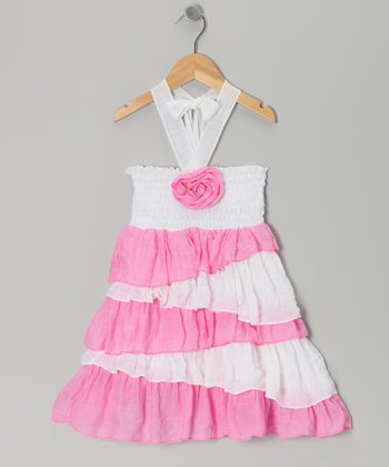 White & Pink Rosette Ruffle Dress - Toddler & Girls