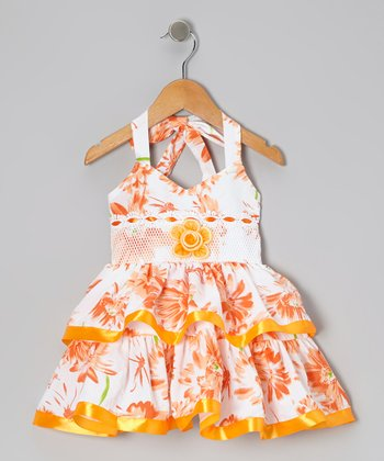 Orange Bright Flower Halter Dress - Toddler & Girls
