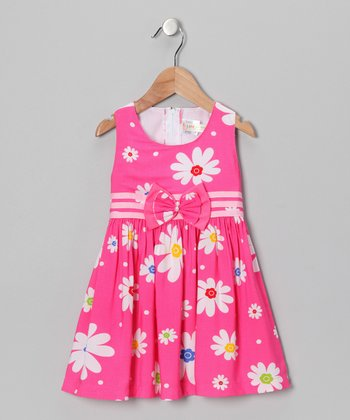 Pink Daisy Bow Dress - Toddler & Girls