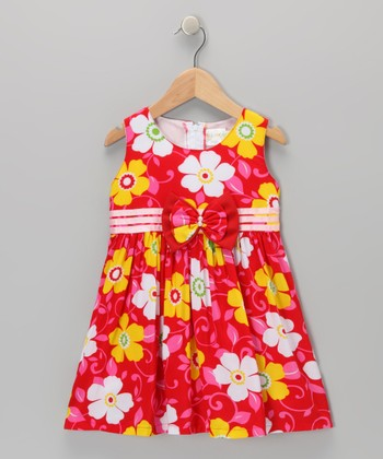 Red Ribbon Daisy Dress - Toddler & Girls