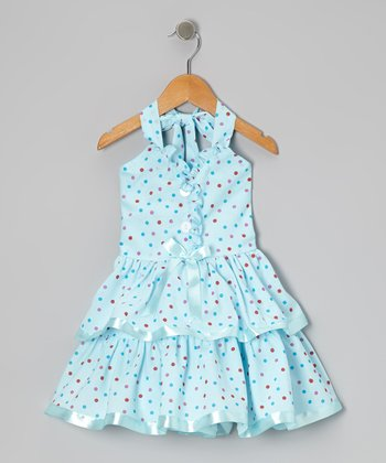 Blue Polka Dot Halter Dress - Toddler & Girls