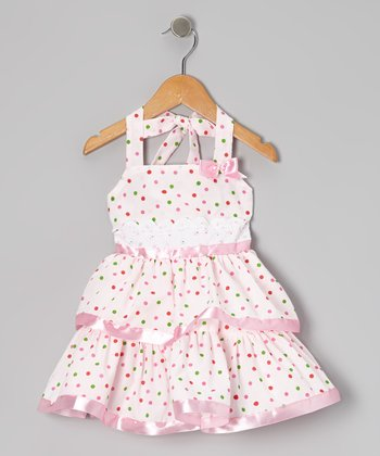 Pink Polka Dot Halter Dress - Toddler & Girls