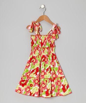 Red Floral Ruffle Tier Dress - Toddler & Girls