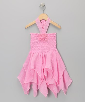 Light Pink Rosette Handkerchief Dress - Toddler & Girls