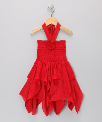 Red Rosette Handkerchief Dress - Toddler & Girls