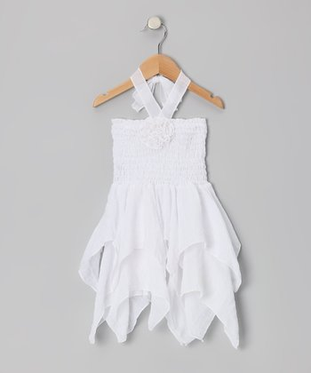 White Rosette Handkerchief Dress - Toddler & Girls