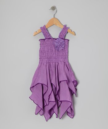 Lilac Shirred Handkerchief Dress - Toddler & Girls
