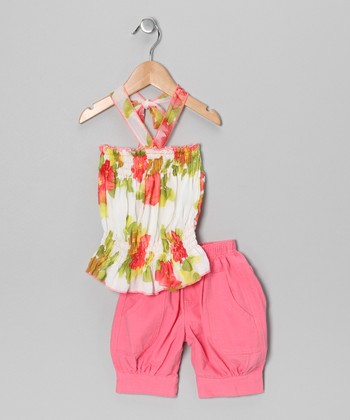Coral Floral Halter Top & Capri Pants - Toddler & Girls